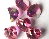 6 pcs Swarovski Crystal Heart Pendant 6202 10mm AB Colored
