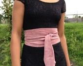 Stretchy genuine suede leather obi belt, waist cincher