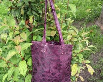 Purple embossed leather shopper