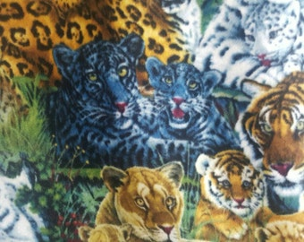 Animals Wildlife Africa - Tiger Family Fleece Fabric by the yard