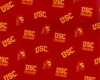 NCAA University of Southern California USC Trojans 100%Cotton V3 Fabric by the yard