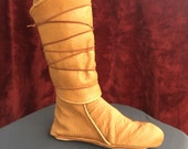 RESERVED ORDER--- Authentic Leather Wrap Boots, Deerskin Leather, w/Thick Sole