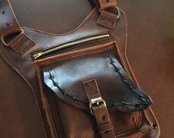 Custom Leather Hip Purse--- Genuine Leather--- Biker Bag, Biker Purse, Custom Leather Purse, Slim Leather Bag, 2 Way Purse