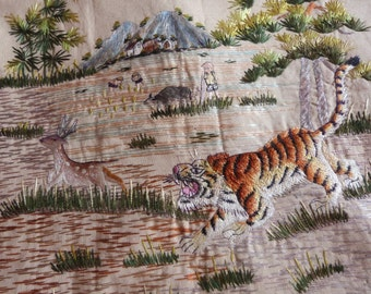 Antique French hand embroidered panel w tiger and deer embroidery on linen, oriental wall hanging decor, arts and crafts handwork