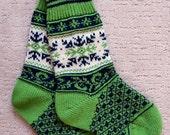 Wool Socks, Norwegian Scandinavian folk art Hand Crafted, 100% wool, size L ,  Snowflake Fair Isle