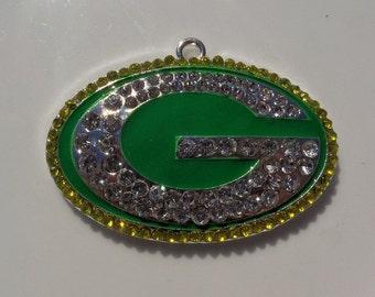 50mm, Greenbay Packers Inspired Rhinestone Pendant, Football, P46