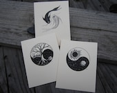 Yin Yang Three Card Set, Blank Cards, Greeting Cards, All Occasion Blank Note Card, Original Art Prints