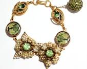 Wedding Bracelet, handmade with Vintage Jewelry, Wedding Jewelry, Vintage Bracelet, Charm Bracelet, Vintage Wedding Jewelry