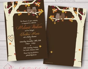 Baby Shower/Birth Announcement, Invitations: Owls, Carved Tree, Fall, Maple, Oak, Brown & Ivory. Samples/Printing/Digital Files Available