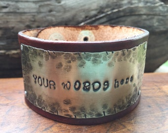 custom bracelet for Eleonora, Hand Stamped Quote, your choice of silver, copper, or brass, custom leather color