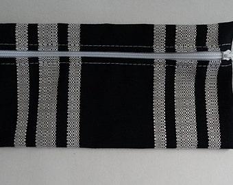 Sunbrella Hampton Indigo Zippered Pouch, Cosmetic Bag, Pencil Case, Bridesmaid Gift, Zippered Catch All Bag, Striped Canvas Pouch
