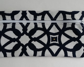 Sunbrella Luxe Indigo Zippered Pouch, Cosmetic Bag, Pencil Case, Bridesmaid Gift, Zippered Catch All Bag, Striped Canvas Pouch