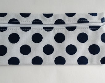 Sunbrella White and Navy Polka Dot Zippered Pouch, Cosmetic Bag, Pencil Case, Bridesmaid Gift, Zippered Catch All Bag, Canvas Gift Bag