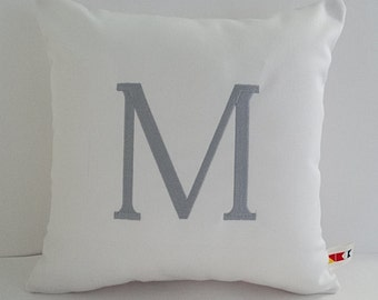 MONOGRAM PILLOW COVER Sunbrella indoor outdoor embroidered letter initial dorm decor wedding engagement housewarming gifts oba canvas co.