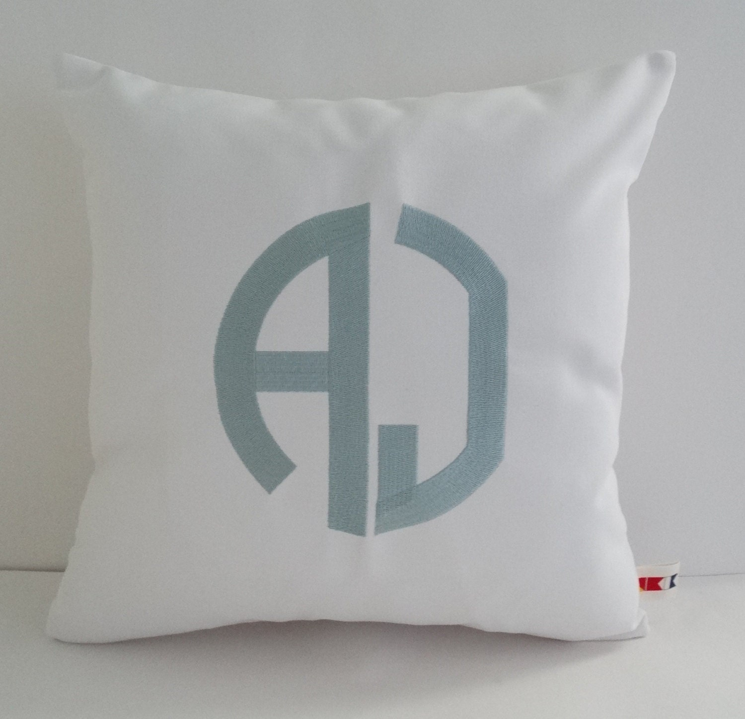 MONOGRAM PILLOW COVER Sunbrella indoor outdoor initial modern