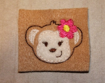Luau girl monkey, monkey with flower by ear, on camel tan felt, 4 pieces for hair accessories, scrap booking or crafts
