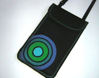 Cell Phone Case neck/crossbody iPhone 6 Plus Cover smartphone pouch Handmade iPhone 6s plus Purse fabrics sling mini bag in Black Green Blue