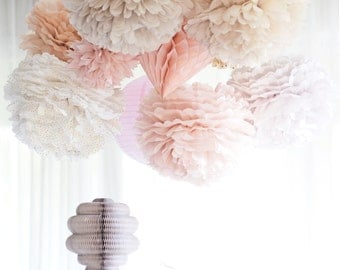 Dusty blush.. paper Pom Poms and honeycomb set - Wedding  Party Bridal Shower Birthday Nursery Decorations