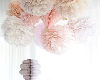 Dusty blush.. 10 mixed size Tissue paper  Pom Poms set  Wedding  Party Bridal Shower Birthday Nursery Decorations