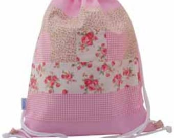 Drawstring Waterproof Backpack, Swim Bag, Nursery Bag - Pink Patchwork