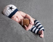 Newborn Boy All Star Dallas Cowboy Inspired Beanie and Leggings - Made to Order