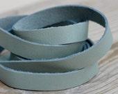 15mm Powder Blue Genuine Leather Strap, 1 Yard