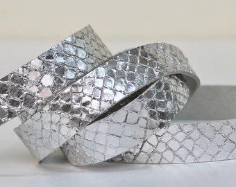 20 mm Snakeskin Print  Leather Strap,Metallic Silver  Genuine Leather, 1 Yard