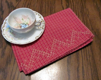 Brick Red Plaid Tea Towel / Brick Red and Tan Plaid Dish Towel / Brick Red Dish Towels
