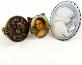 Brass Rings, Bsue Jewelry, Jewelry Making, Cameo Ring, Mona Lisa Ring, Adjustable, B'sue Boutiques, Item03536