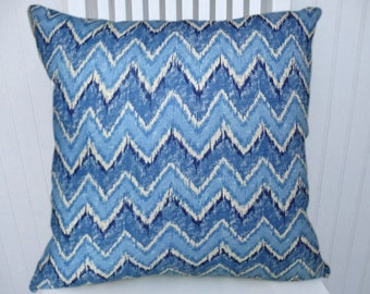 Blue Chevron Pillow Cover-- Zig Zag Decorative Throw Pillow Cover 18x18 or 20x20 or 22x22 or Lumbar Pillow Cover, Accent Pillow Cover