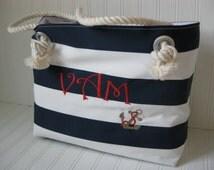 Nautical Navy Stripe Beach Bag Monogram Tote Sailor Bag GIFT FOR HER Summer Vacation Travel