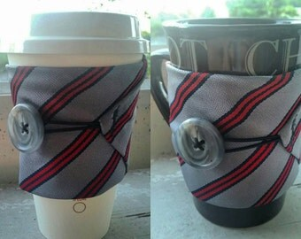 Striped Necktie Coffee Cup Cozy - Gift - Art - Handmade - Winter - Cold - New Year