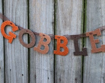 """Gobble Glitter Letter Banner Garland, 4"""" Letters for Thanksgiving holiday and Photo Props"""