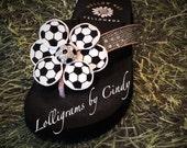 Soccer ball flower flip flop clip on