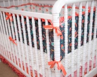 Aqua Coral Gray Crib Bedding with Nine Tier Skirt, Metallic Gold Sheet, and Bird and Arrow Bumper