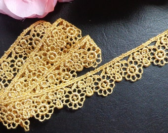 Metallic Venise Lace, 7/8 inch gold selling by the yard