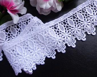 Venise Lace, 3+1/4 inch wide white color selling by the yard