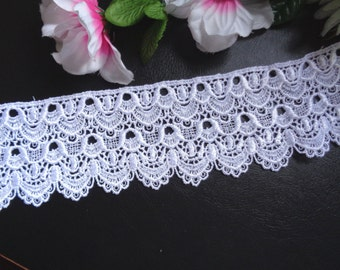 Venise Lace, 2+7/8 inch wide white color selling by the yard