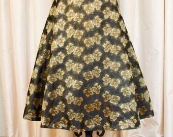 1950's Skirt // Gold Lamé Floral on Black A Line Skirt