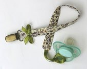 Baby pacifier clip purple floral - soft cotton roses green