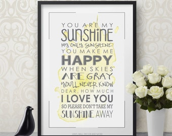"""You are my Sunshine Print  11"""" by 17"""""""