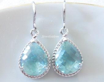 Aqua Earrings Silver Earrings Teal Green Earrings Erinite Opal Mint Wedding Jewelry Modern Bridal Bridesmaids Gift Sister Earrings C1