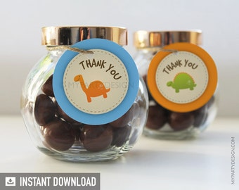 Dinosaur Party - Thank you Tags / Circles - Dino Party - INSTANT DOWNLOAD - Printable PDF