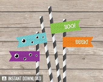 Monster Party - Straw Flags - Halloween Party - INSTANT DOWNLOAD - Printable PDF
