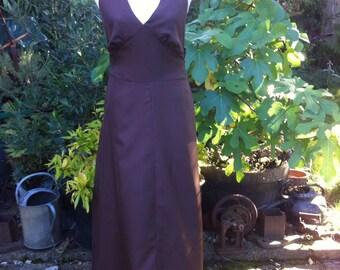 Original Vintage 1970s Chocolate Brown Halter Neck Maxi Dress