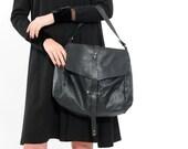 Black Nappa leather handbag, Shoulder leather bag, Hobo bag, Soft leather bag