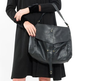 Black Nappa leather handbag, Shoulder leather bag, Hobo bag, Soft leather bag