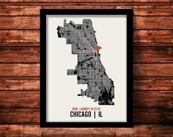 Chicago Wedding Map Art   Chicago Wedding Gift   Chicago Art Print   Chicago Poster   Chicago Map