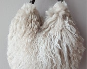 Curly Haired Tibetan Wool Wristlet in Taupe