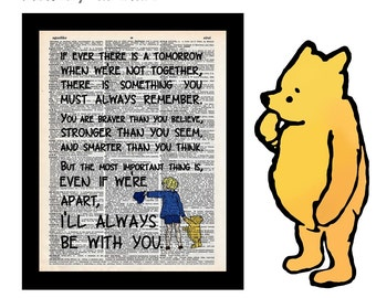 Winnie the Pooh & Christopher Robin Quote 18 Braver Stronger Smarter on Vintage Upcycled Dictionary Art Print Book Art Print